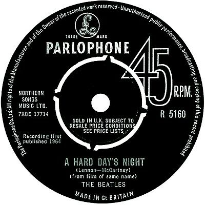 "7"" - The Beatles - A Hard Day's Night (1964 UK PRESSING CATALOG#: R 5160) VG+"