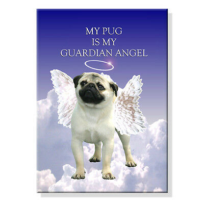 PUG Guardian Angel MAGNET New DOG Fawn STEEL CASED Pet Loss