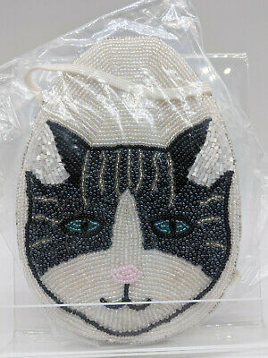Black & White Beaded Cat Purse Cats Handbag Hand Bag