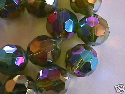 Olive Green AB Faceted Glass Crystal Beads 20mm 8pc
