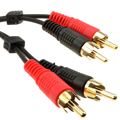 3m Twin Phono to 2 x Phonos RCA Cable Lead GOLD 10ft