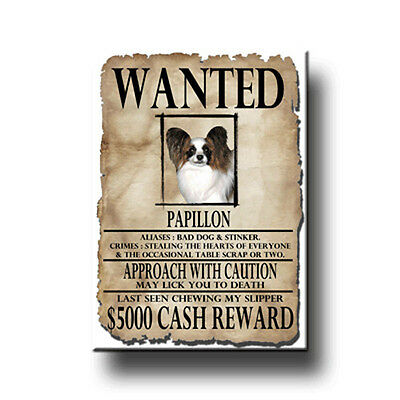 PAPILLON Wanted Poster FRIDGE MAGNET New DOG Funny