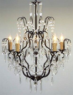 5 LIGHT CRYSTAL WROUGHT IRON OR METAL CHANDELIER KITCHEN DINING OR LIVING ROOM