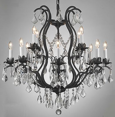 12 LIGHT CRYSTAL WROUGHT IRON CHANDELIER FREE SHIPPING DINING ROOM OR FOYER