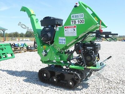 """Drum Type Wood Chipper, Tracked, Self-Powered: Peruzzo TB100 Chip 4""""D x 12""""Wide!"""