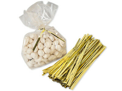 "50 Lot Gold Metallic 6"" Cello Gift Bag Twist Ties Cables Crafts Favors Wreaths"