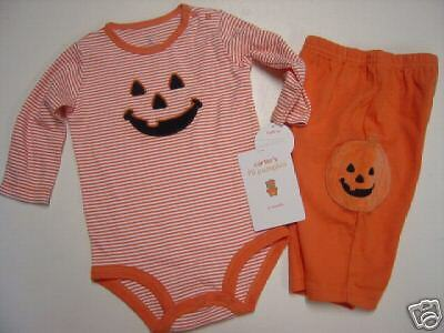 Nwt Carters Halloween Pumpkin Bodysuit & Pant Set 3 Mo