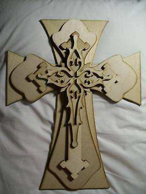 Unfinished Wood Layered Stack Crosses Kit #400 - 15''