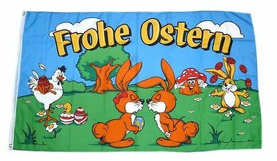 Fahne / Flagge Frohe Ostern Osterhasen NEU 90 x 150 cm