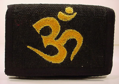 beautiful artwork ~ BLACK HEMP WALLET ~ Buddhist Om