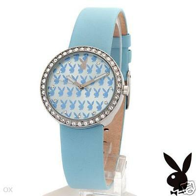 Playboy Ladies Watch Quartz Crystal Gemstone Blue Leather Wristband Bracelet