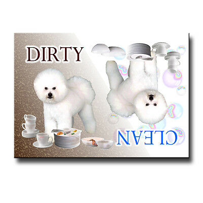 BICHON FRISE Clean Dirty DISHWASHER MAGNET Must See DOG