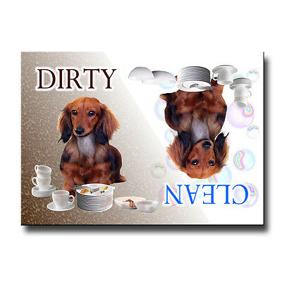 DACHSHUND Clean Dirty DISHWASHER MAGNET No 4 L/HAIR