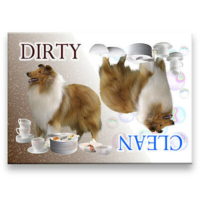 ROUGH COLLIE Clean Dirty DISHWASHER MAGNET No 1 NEW