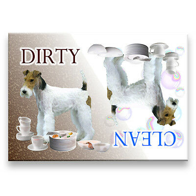 WIRE FOX TERRIER Clean Dirty DISHWASHER MAGNET No 1