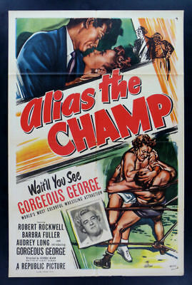 ALIAS THE CHAMP * CineMasterpieces GORGEOUS GEORGE MOVIE POSTER WRESTLING