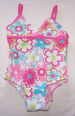 Floral Girls White 1 Piece Printed Swimsuit Set Size 0 New