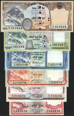NEPAL EVEREST w/out  FLOWER print Rs 5 to 500 set of 6, pick 60a to 64a & 66 UNC