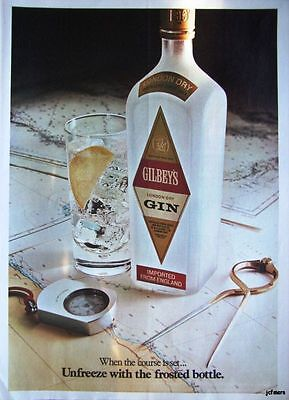 Vintage GILBEY'S London Dry Gin Advert - 1972 Photo Ad