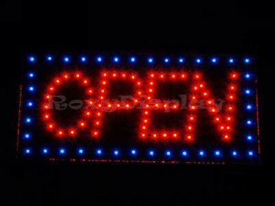 Big Bright LED OPEN SIGN Red&Blue Flash #AC-OP3