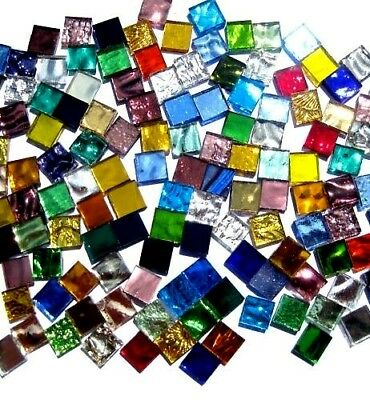 50 Mixed Mosaic MIRROR Tiles 1cm x 1cm WOW Great colors
