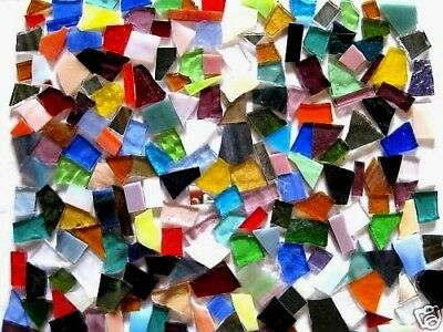 100g of colorful STAINED GLASS precut MOSAIC PIECES WOW