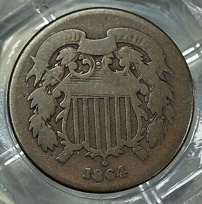 Good 1864 U.s. Shield Two Cent Coin......#7076