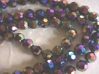 Bling Black AB Faceted Crystal Glass 10mm Beads 20p