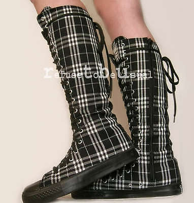 PUNK GOTH 20 HOLE KNEE High CANVAS SNEAKER Tartan BOOTs