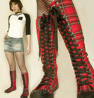 Punk Rock 20 Hole KNEE HI SNEAKER Red Tartan Plaid BOOT