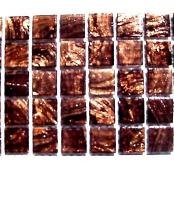 25 BROWN with GOLD streaks Vitreous Mosaic Glass Tiles 2cm x 2cm
