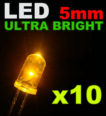 415/10# LED ultra Bright  Jaune 5mm 10pcs + résistance  4000mcd