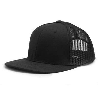 Black Cotton / Mesh 6 Panel Trucker Style Flat Bill Snapback Cap Caps Hat Hats