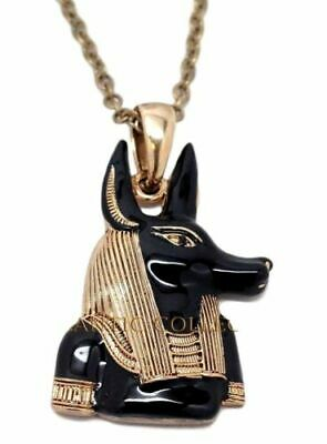 Mystica Accessory Egyptian Anubis Jackal Head Necklace Pewter Black & Gold Toned