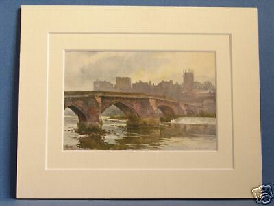 Old Dee Bridge Chester Vintage 1930's Mounted Print Old