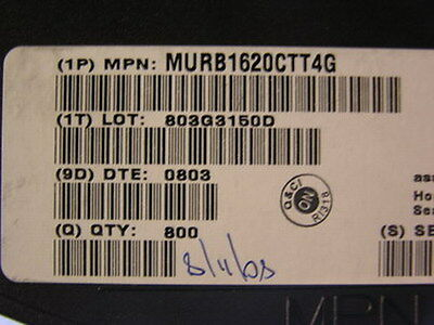 800 ON Semiconductor: MURB1620CTT4G Power Rectifiers