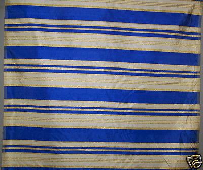 Vintage French Blue Stripe Silk Shantung Fabric