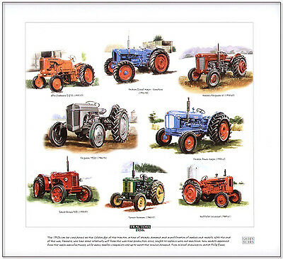TRACTORS 1950's  FINE ART PRINT - David Brown Massey Ferguson Turner Yeoman etc.