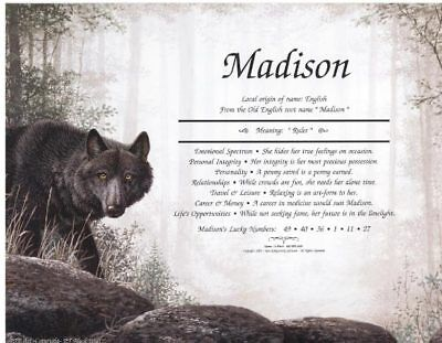 BLACK WOLF Print Personalized Poem Prayer Mountain