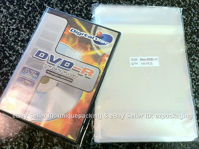 400 Pcs 5 3/4 x 7 15/16 Clear Slim DVD Case Poly / Cello Cellophane Bags Sleeves