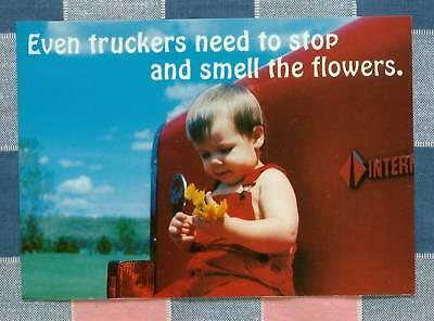 50 Postcards Little Lee Comic Trucking Even Truckers Need Stop and Smell flowers