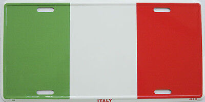 Italy Flag Embossed Car Aluminum License Plate