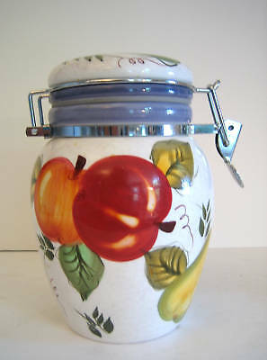"""small repair Medium Size Canister pattern """"Vintage Fruit"""" by Oneida China"""