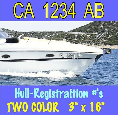 2x 2- COLOR Hull ID BOAT REGISTRATION NUMBERS VINYL DECAL STICKER #S JET SKI SEA