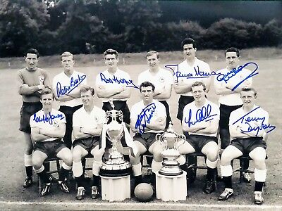 Tottenham Hotspur 1961 Photograph Signed By 8 Double Winners Mackay Allan Baker