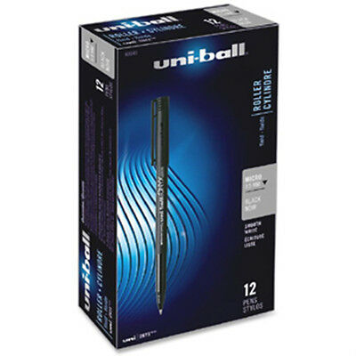 Uni-Ball Onyx Stick Micro Point Black Roller Ball Pens 12ea