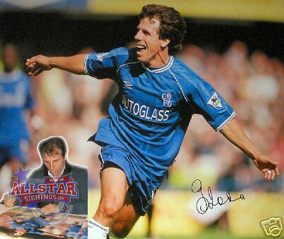"""GIANFRANCO ZOLA SIGNED 16""""x20"""" CHELSEA PHOTOGRAPH SEE PROOF"""