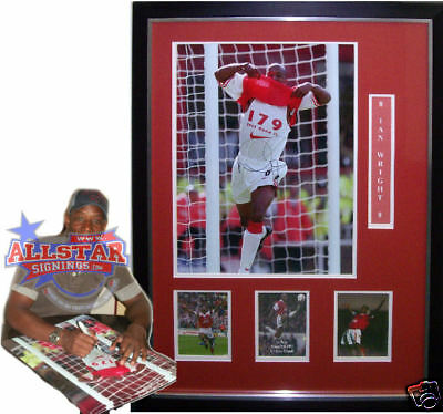 """FRAMED IAN WRIGHT SIGNED ARSENAL 16""""x20"""" PHOTOGRAPH SEE PROOF GUNNERS"""