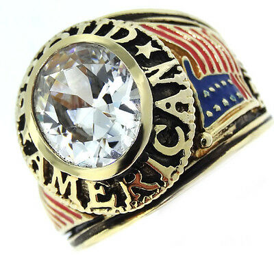 Mens Proud American Clear Stone 18kt Gold Plated Ring