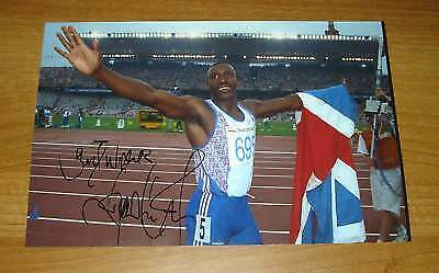 LINFORD CHRISTIE GENUINE HAND SIGNED AUTOGRAPH PHOTO BRITISH OLYMPIC 100m + COA